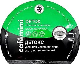 Parfémy, Parfumerie, kosmetika Látková pleťová maska a aktivním uhlím Detox - Cafe Mimi Detox Charcoal Face Mask Green Tea Extract