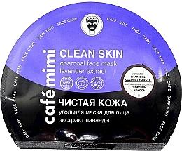 Parfémy, Parfumerie, kosmetika Látková pleťová maska a aktivním uhlím Čistá pleť - Cafe Mimi Clean Skin Charcoal Face Mask Lavender Extract