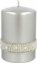 Parfémy, Parfumerie, kosmetika Dekorativní svíčka stříbrná, 7x10 cm - Artman Crystal Opal Pearl