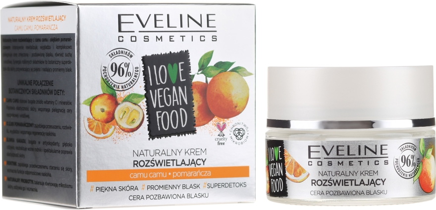 Krém na obličej Kamu Kamu a pomeranč - Eveline I Love Vegan Food Face Kream — foto N2