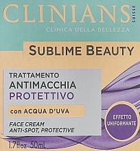 Parfémy, Parfumerie, kosmetika Ochranný krém vyrovnávající tón pleti s hroznovou vodou - Clinians Sublime Beauty Antimacchia Protettivo Face Cream