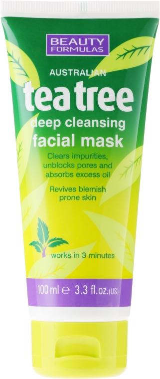 """Maska pro hluboké čištění obličeje """"Čajový strom"""" - Beauty Formulas Tea Tree Deep Cleansing Facial Mask"""