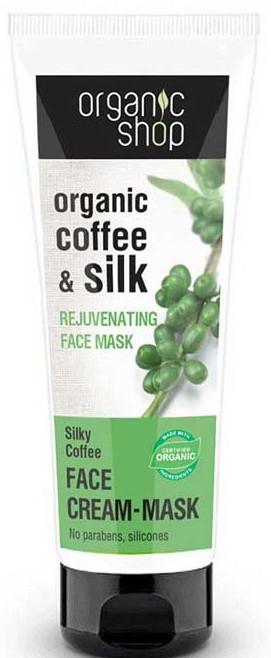 Omlazující maska na obličej Hedvábná káva - Organic Shop Cream Mask Face