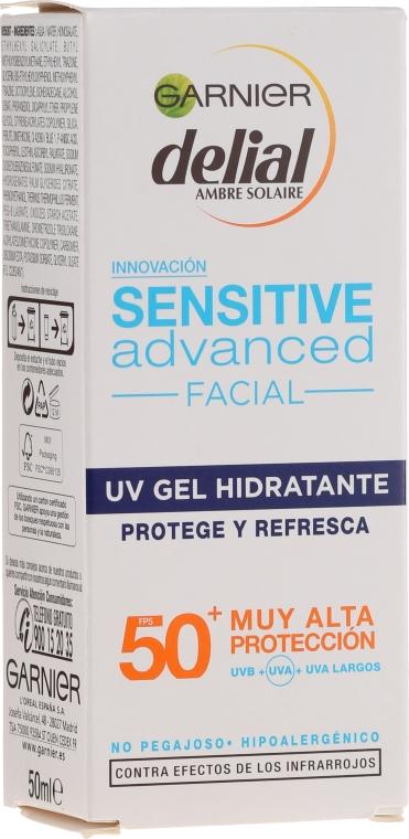 Opalovací gel na citlivou pleť obličeje - Garnier Delial Ambre Solaire Sensitive Advanced Facial Sunscreen SPF50+ — foto N2