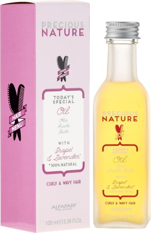 Ultra lehký olej pro kudrnaté a vlnité vlasy - Alfaparf Precious Nature Oil Curly & Wavy Hair Grape & Lavender