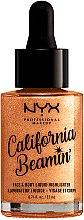 Parfémy, Parfumerie, kosmetika Tekutý rozjasňovač pro obličej a tělo - NYX Professional Makeup California Beamin' Face & Body Liquid Highlighter