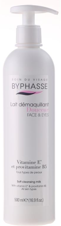 Čistící mléko pro odličovaní make-upu s dávkovačem - Byphasse Soft Cleansing Milk Face & Eyes All Skin Types (pumpa)