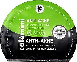 Parfémy, Parfumerie, kosmetika Látková pleťová maska a aktivním uhlím Anti akné - Cafe Mimi Anti Acne Charcoal Face Mask Tea Tree Extract