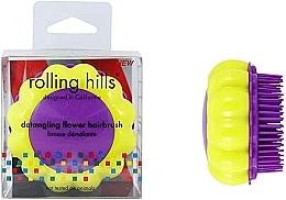 Parfémy, Parfumerie, kosmetika Kompaktní kartáč na vlasy Heřmánek, žlutý/šeříkový - Rolling Hills Brosse Desenredar Flower