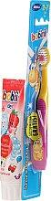 Parfémy, Parfumerie, kosmetika Sada se žlutorůžovým kartáčkem - Bobini 2-7 (toothbrush + toothpaste/75ml)