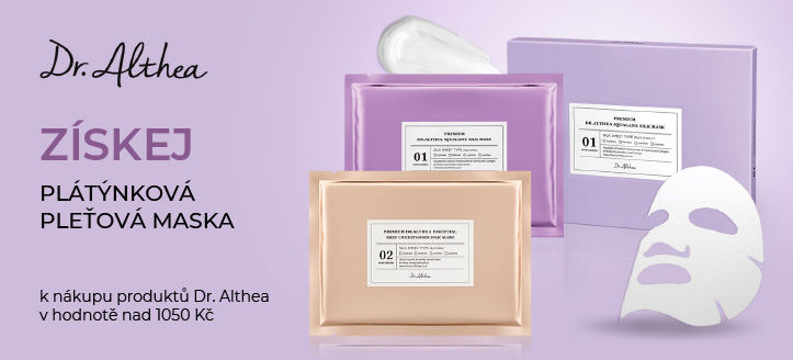K nákupu produktů Dr. Althea v hodnotě nad 1050 Kč získej plátýnkovou pleťovou masku jako dárek