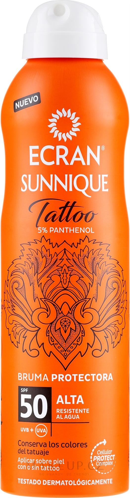 Sprej po opálení - Ecran Sunnique Tattoo Protective Mist SPF50 — foto 250 ml