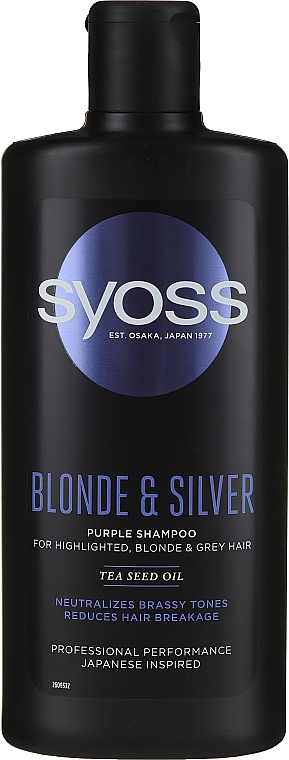 Šampon na blond vlasy - Syoss Blond & Silver Purple Shampoo For Highlighted, Blonde & Grey Hair