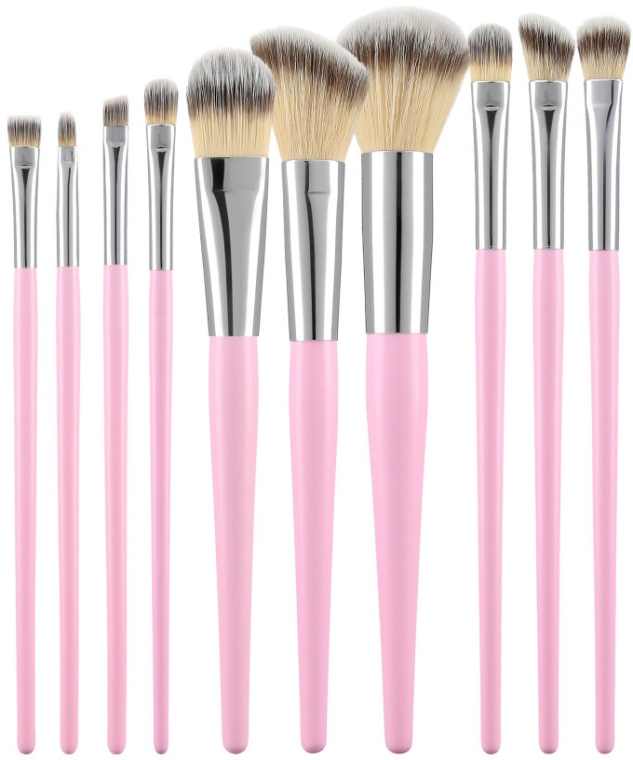Sada profesionálních make-up štětců, růžová, 10 ks - Tools For Beauty