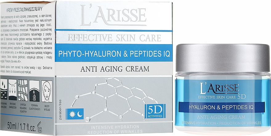 Krém proti vráskám s kyselinou hyaluronovou a peptidy 45+ - Ava Laboratorium L'Arisse 5D Anti-Wrinkle Cream Phytohyaluron + Peptides
