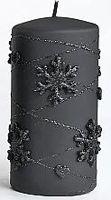 Parfémy, Parfumerie, kosmetika Dekorativní svíčka, černá, 7x14 cm - Artman Snowflake Application
