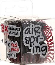 Parfémy, Parfumerie, kosmetika Gumičky do vlasů hnědé+červená, 4 ks - Hair Springs