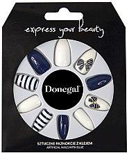 Parfémy, Parfumerie, kosmetika Sada umělých nehtů, modré s bílou - Donegal Express Your Beauty