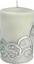 Parfémy, Parfumerie, kosmetika Dekorativní svíčka, šedá s ornamentem, 7x10 cm - Artman Christmas Ornament