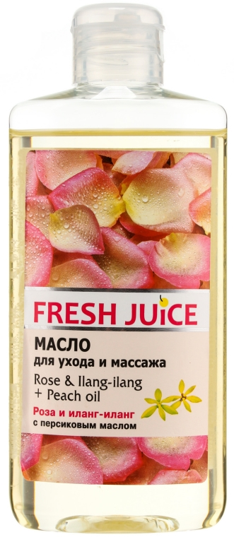 Pečující a masážní olej Růže a Ylang-Ylang + broskvový olej - Fresh Juice Energy Rose&Ilang-Ilang+Peach Oil