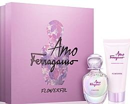 Parfémy, Parfumerie, kosmetika Salvatore Ferragamo Amo Ferragamo Flowerful - Sada (edt/50ml + b/lot/100ml)