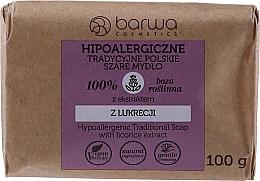 Parfémy, Parfumerie, kosmetika Tradiční šedé mýdlo s extraktem z lékořice - Barwa Hypoallergenic Traditional Soap With Licorice Extract