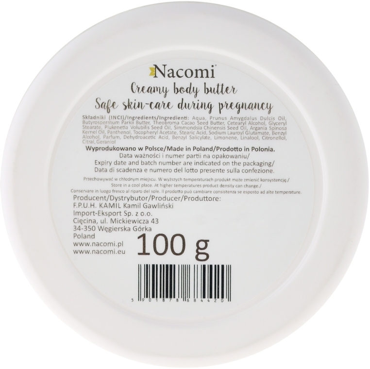 Tělový olej - Nacomi Pregnant Care Creamy Body Butter — foto N3
