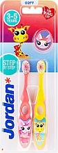 Parfémy, Parfumerie, kosmetika Dětský zubní kartáček, 3-5 let, růžový + žlutý, s žirafou - Jordan Step By Step Soft Clean