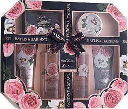 Parfémy, Parfumerie, kosmetika Sada - Baylis & Harding Boudoire Rose Set (sh/gel/130ml + sh/gel/300ml + lot/130ml + crystals/100g + bath/f/300ml + soap/100g)