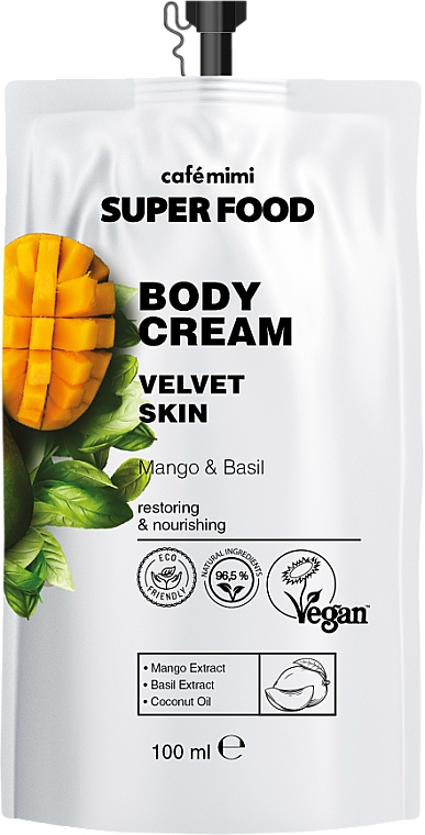 """Tělový krém """"Sametová kůže"""" mango a bazalka - Cafe Mimi Super Food"""