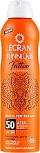 Parfémy, Parfumerie, kosmetika Sprej po opálení - Ecran Sunnique Tattoo Protective Mist SPF50