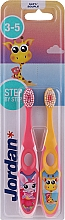 Parfémy, Parfumerie, kosmetika Dětský zubní kartáček, 3-5 let, žlutý+růžový - Jordan Step By Step Soft Clean