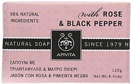 "Parfémy, Parfumerie, kosmetika Mýdlo ""Růze a černý pepř"" - Apivita Soap with Rose and Black pepper"