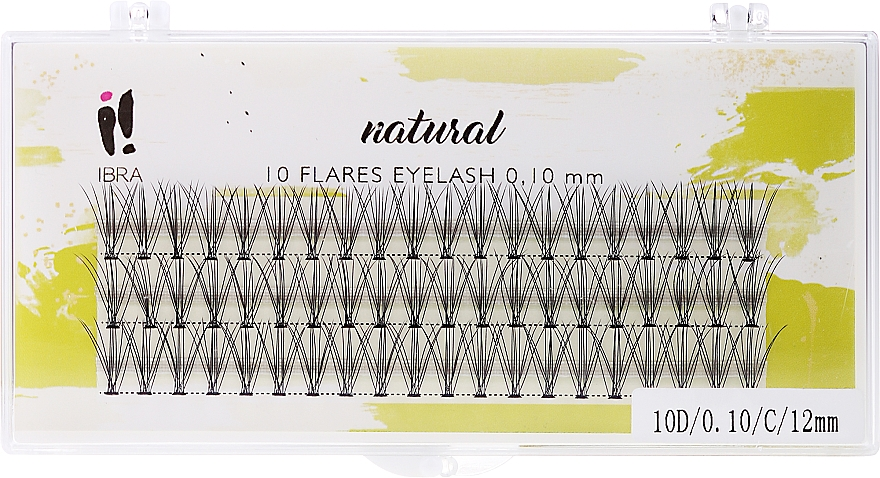 Umělé svazky, C 12mm - Ibra 10 Flares Eyelash Knot Free Naturals