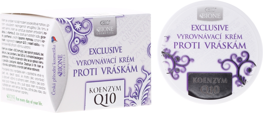 Krém na obličej proti vráskám - Bione Cosmetics Exclusive Organic Smoothing Anti-Wrinkle Cream With Q10