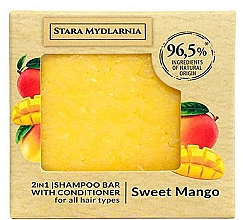 Parfémy, Parfumerie, kosmetika Tuhý šampon-kondicionér - Stara Mydlarnia Sweet Mango 2in1 Shampoo Bar