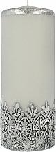 Parfémy, Parfumerie, kosmetika Dekorativní svíčka s krajkou, šedá, 9x24 cm - Artman Lace Christmas