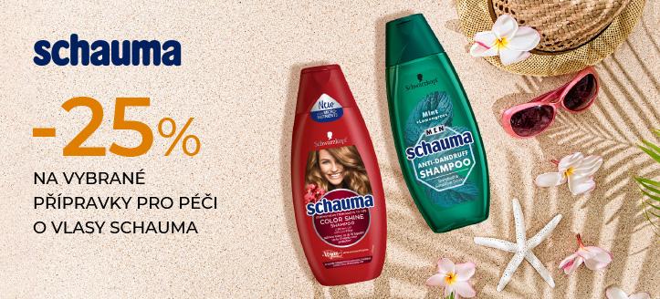 Sleva 25% na vybrané přípravky pro péči o vlasy Schauma. Ceny na webu jsou včetně slev