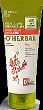 Parfémy, Parfumerie, kosmetika Omlazující krém na ruce s výtažkem z bobulí goji - O'Herbal Rejuvenating Hand Cream With Goji Berry Extract