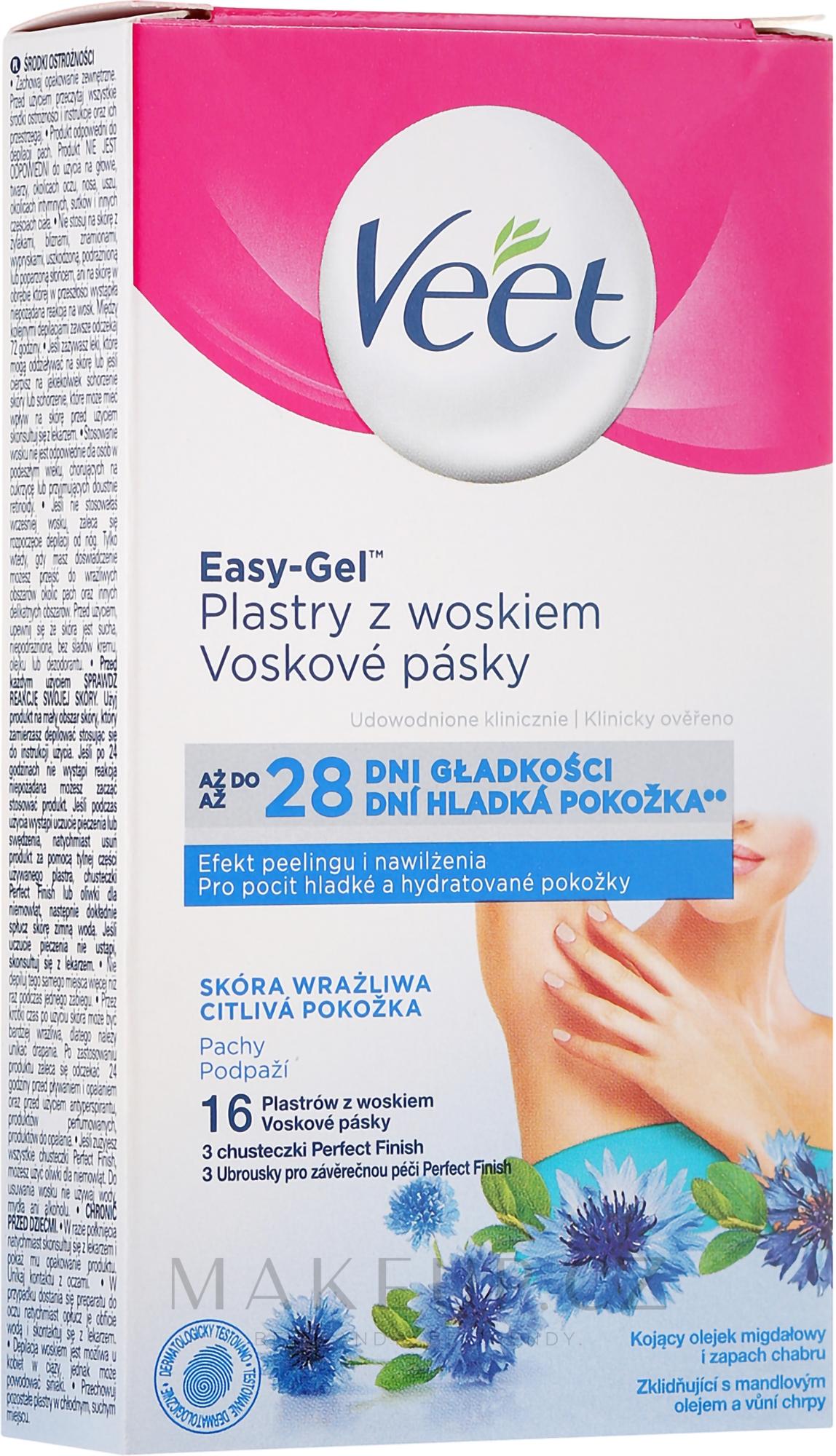 Voskové depilační proužky na tělo s vůní modré chrpy - Veet Easy-Gel — foto 16 ks.