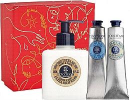 Parfémy, Parfumerie, kosmetika Sada - L'Occitane Shea Butter Christmas Set (h/cr/75ml + h/scr/75ml + mousse/300ml + box)