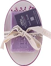 Parfémy, Parfumerie, kosmetika Mýdlo oválného tvaru s keramickou mýdlenkou Levandule - Le Chatelard 1802 Lavender Soap