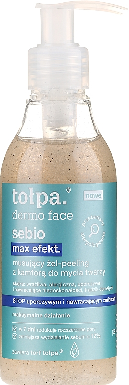 Šumivý gel pro mytí obličeje - Tolpa Dermo Face Sebio Max Efect Gel-peeling