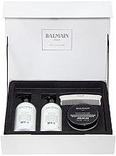 Parfémy, Parfumerie, kosmetika Sada - Balmain Paris Hair Couture Silver Revitalizing Care Set (mask/200ml+h/couture/300ml+shampoo/300ml+brush)