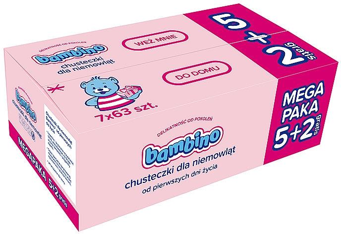 Dětské vlhčené ubrousky, 7x63ks - Bambino Wipes