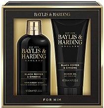 Parfémy, Parfumerie, kosmetika Sada - Baylis & Harding Black Pepper & Ginseng (sh/gel/200ml + wash/300ml)