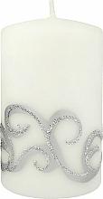Parfémy, Parfumerie, kosmetika Dekorativní svíčka, bílá s ornamentem, 7x10 cm - Artman Christmas Ornament