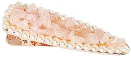 """Parfémy, Parfumerie, kosmetika Sponka do vlasů """"Růžový křemen"""" - Crystallove Rose Quartz Hair Clip"""
