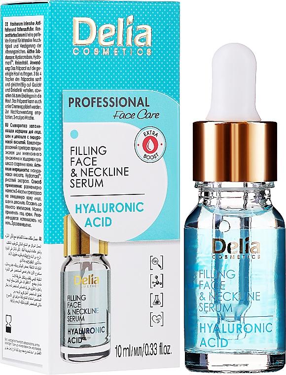 Intenzivní sérum proti vráskám na obličej a krk s kyselinou hyaluronovo - Delia Face Care Hyaluronic Acid Face Neckline Intensive Serum — foto N2