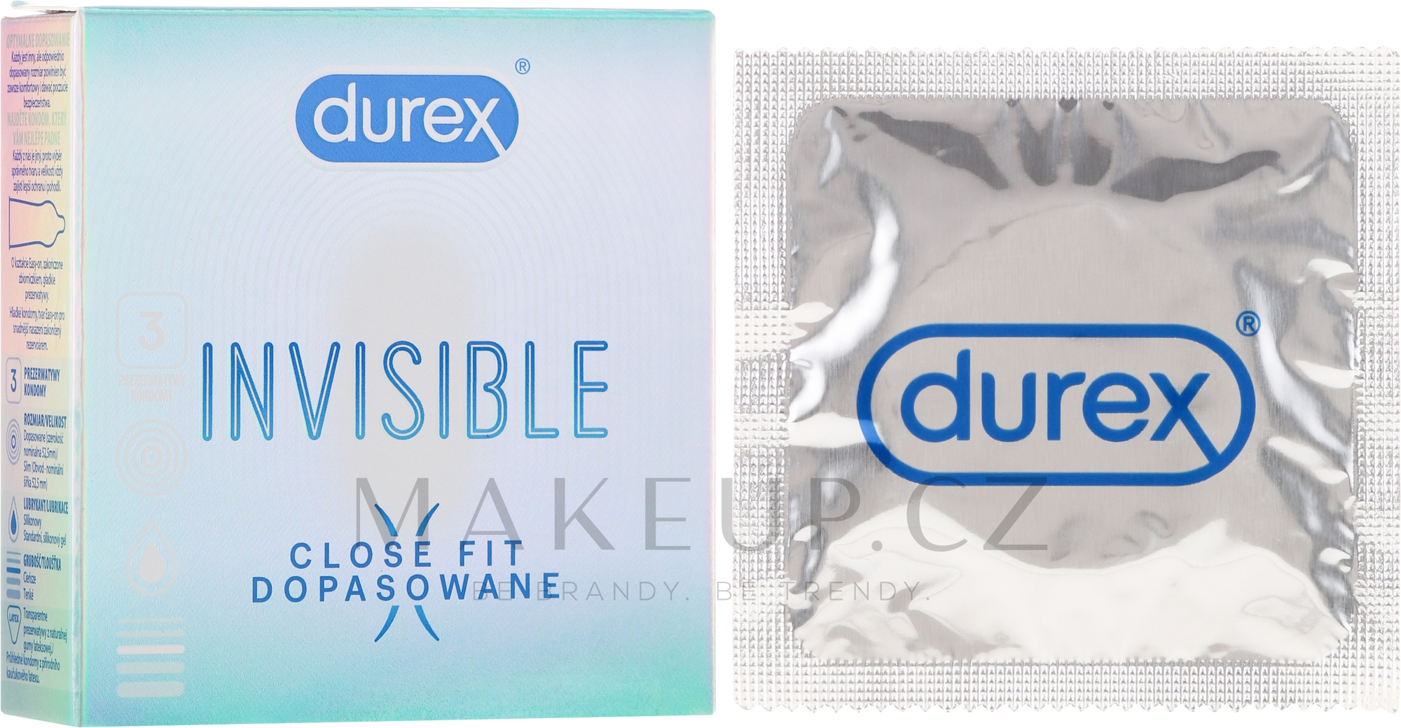 Kondomy 3 ks - Durex Invisible Close Fit — foto 3 ks.